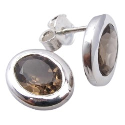 Ovalen braunen Ohrringe in Silber