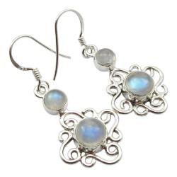 Schönen Mondstein Ohrringe in Silber