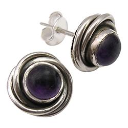 Runden violettem Amethyst Ohrstecker in oxidiertem Sterlingsilber