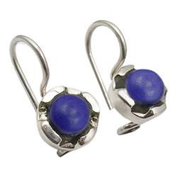 Feinen Lapis Lazuli Ohrringe in oxidiertem Sterlingsilber
