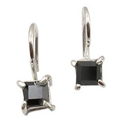Viereckigem Onyxe Ohrringe in Silber