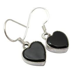 Herzen Onyxe Ohrringe in Silber