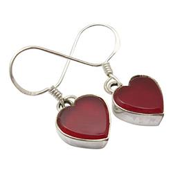 Herzen rotem Ohrringe in Silber