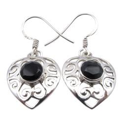 Herz Onyxe Ohrringe in Silber