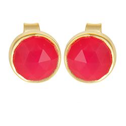 Runden pink Ohrringe in vergoldetem Sterlingsilber
