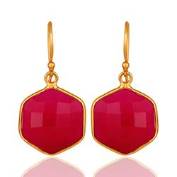 Pink Chalzedon Ohrringe in vergoldetem Sterlingsilber