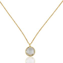 Runder weißem Quarz Halskette aus vergoldetem Sterlingsilber und Anhänger aus vergoldetem Sterlingsilber