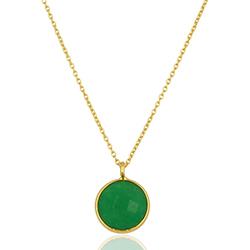 Runder grünem Halskette aus vergoldetem Sterlingsilber und Anhänger aus vergoldetem Sterlingsilber