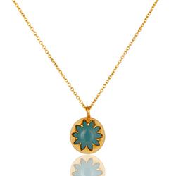 Schön blauem Halskette aus vergoldetem Sterlingsilber und Anhänger aus vergoldetem Sterlingsilber