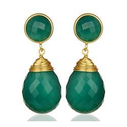 Großen grünen Onyx Ohrringe in vergoldetem Sterlingsilber