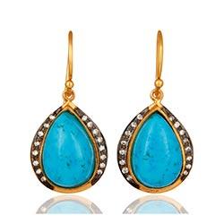 Elegante blauem Ohrringe in vergoldetem Sterlingsilber mit oxidiertem Sterlingsilber
