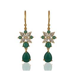Echten grünen Onyx Ohrringe in vergoldetem Sterlingsilber