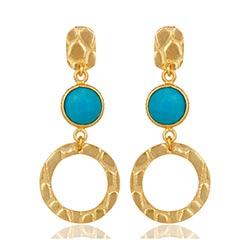 Eleganten runden Ohrringe in vergoldetem Sterlingsilber