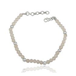 Eleganter Bergkristall Armband aus Silber 17 cm plus 3 cm x 4,0 mm