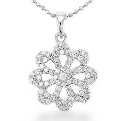 Eleganter Blumen Anhänger aus Silber