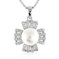 Blumen Perle Anhänger aus Silber