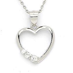 Eleganter Herz Anhänger mit Halskette aus Silber