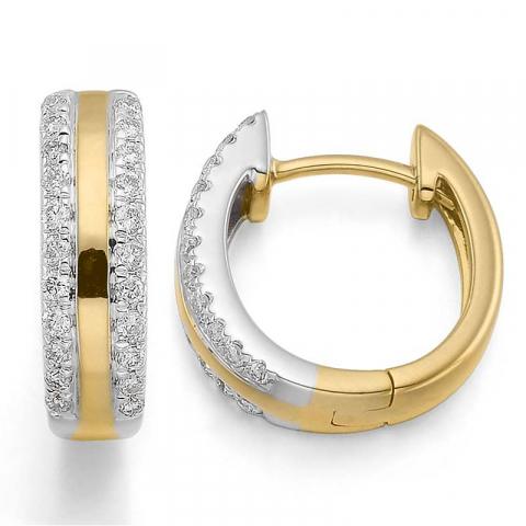lieben 13 mm Diamant Kreole in 14 Karat Gold und Weißgold mit Diamant