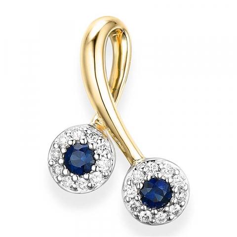 Süßer Saphir Diamantanhänger in 14 karat Gold- und Weißgold 0,10 ct 0,18 ct