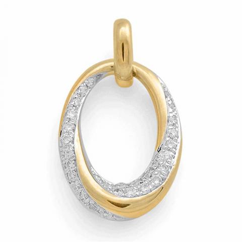Echten Diamantanhänger in 14 karat Gold- und Weißgold 0,16 ct