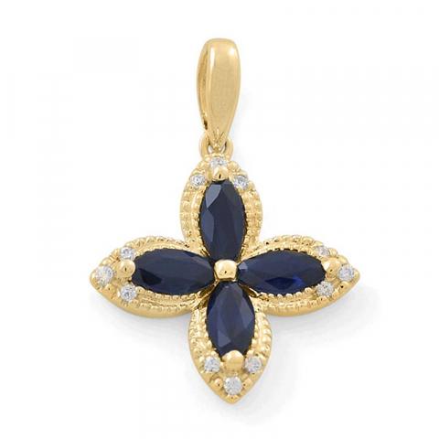 schöner Blumen Saphir Diamantanhänger in 14 karat Gold 0,08 ct 1,36 ct