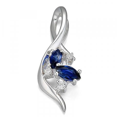 eleganter blauem Saphir Diamantanhänger in 14 karat Weißgold 0,051 ct