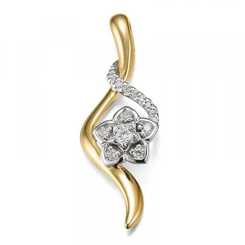 Schöner Blumen Diamant Anhänger in 14 karat Gold- und Weißgold 0,187 ct