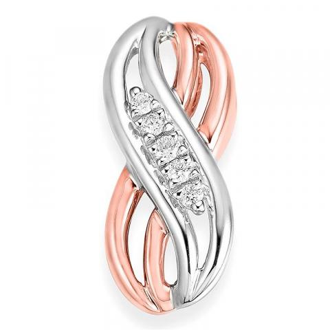 Eleganter abstraktem Diamant Anhänger in 14 karat weiß und Rotgold 0,053 ct