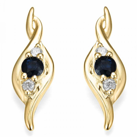 feinen Saphir Diamantohrringe in 14 Karat Gold mit Diamant und Saphir