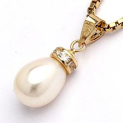 Tropfen weißem Perle Anhänger aus 9 Karat Gold