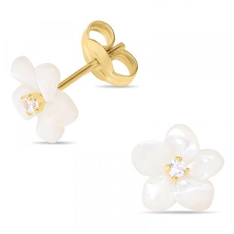 Blumen Ohrstecker in 9 Karat Gold mit Perlmutt und Zirkon