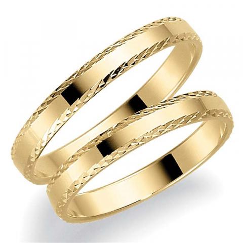 Eleganten 3 mm trauringe aus 9 karat gold - set