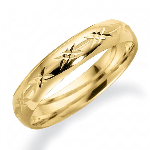 Gemusterter 4 mm trauring aus 9 karat gold
