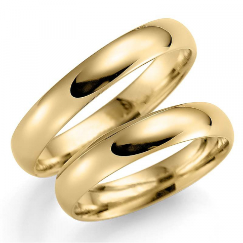 Eleganten 4 mm trauringe aus 9 karat gold - set