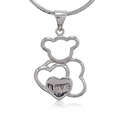 Herz Teddybär Anhänger aus Silber