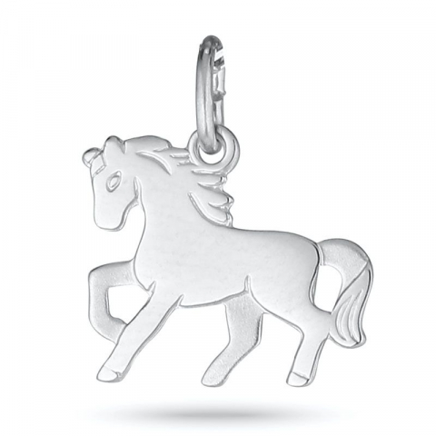 Süßer pferde anhänger aus rhodiniertem silber