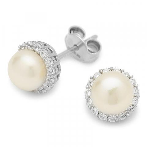 Elegante runden Perle Ohrstecker in Silber