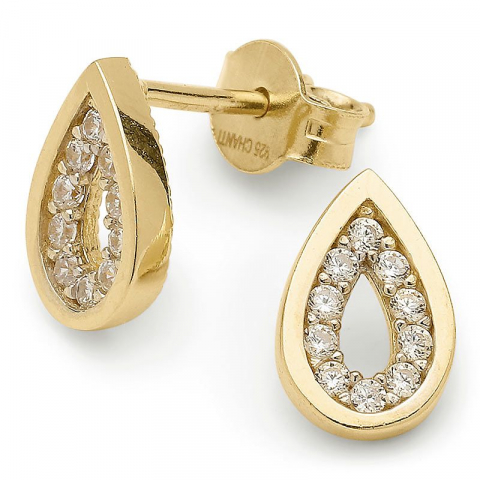 Lieben Tropfen Zirkon Ohrringe in vergoldetem Silber