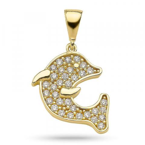 Schönes Delfin Zirkon Anhänger aus vergoldetem Sterlingsilber