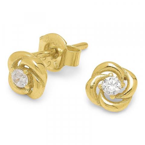 Modernen Blumen Zirkon Ohrringe in vergoldetem Sterlingsilber