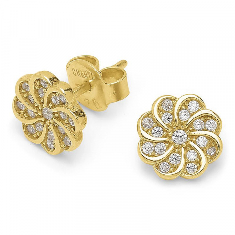 Lieben Blumen Zirkon Ohrringe in vergoldetem Sterlingsilber