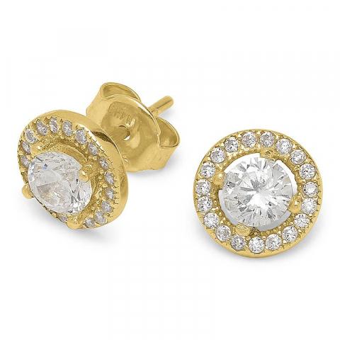 Modernen runden Zirkon Ohrringe in vergoldetem Sterlingsilber