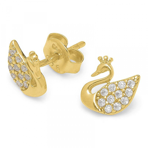 Schönen Schwan Ohrringe in vergoldetem Sterlingsilber