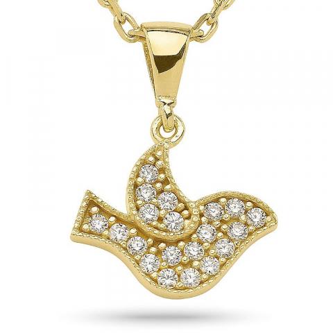Fein Vogel Anhänger mit Halskette aus vergoldetem Sterlingsilber