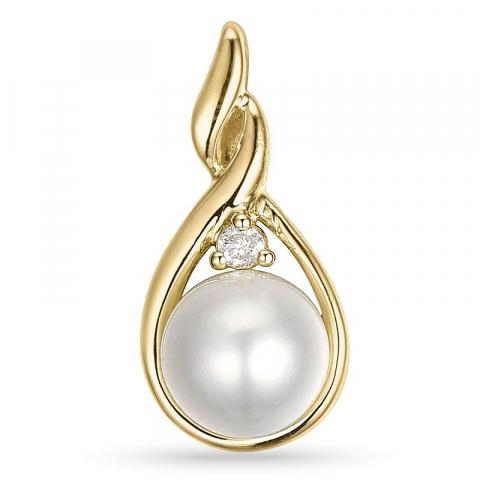 Perle diamantanhänger in 9 karat gold 0,03 ct