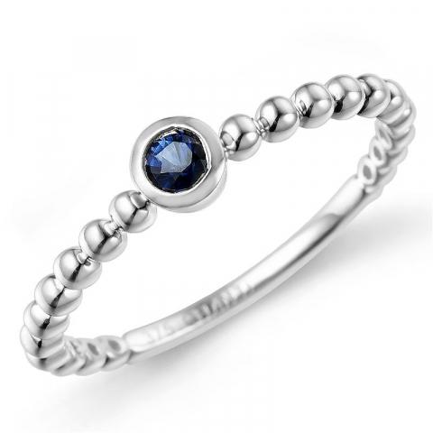 Runder blauem saphir ring in 9 karat weißgold 0,14 ct