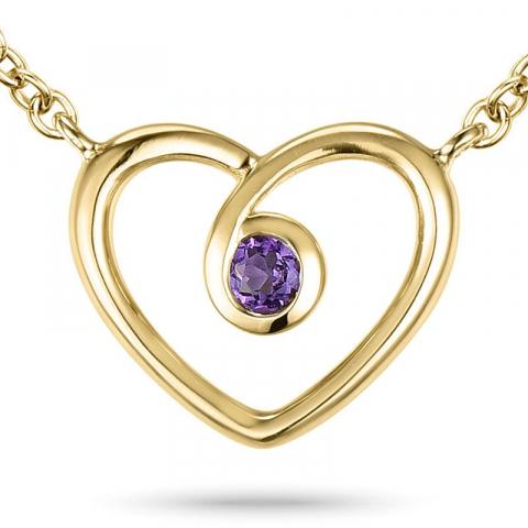 Herz amethyst anhänger mit halskette aus 9 karat gold