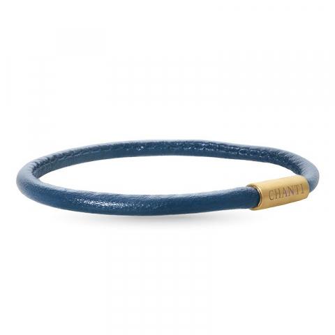 Runder blauem armband aus leder mit vergoldetem stahl  x 4 mm