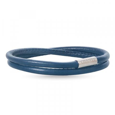 Runder blauem armband aus leder mit stahl  x 4 mm