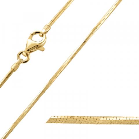 Simpel Schlangenhalskette aus vergoldetem Sterlingsilber 55 cm x 1,2 mm